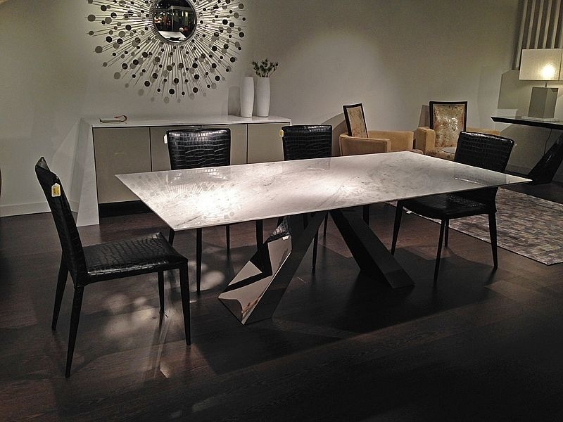 Butterfly Slim Edge Rectangular Marble Dining Table with Steel Base by Stone International 1