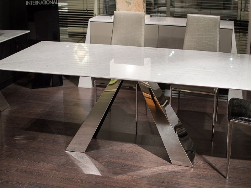 Butterfly Slim Edge Rectangular Marble Dining Table with Steel Base by Stone International 3