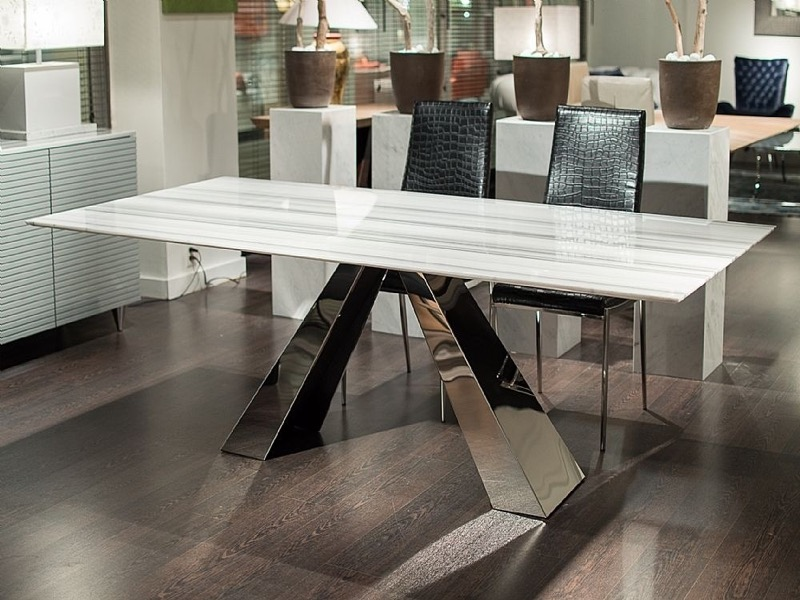 Butterfly Slim Edge Rectangular Marble Dining Table with Steel Base by Stone International