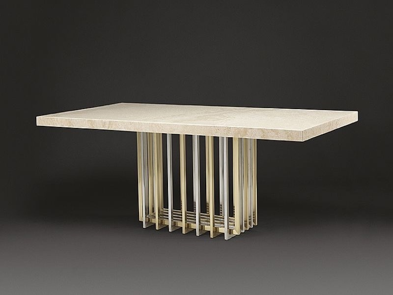 Cage Rectangular Marble Dining Table with Metal Tube Base by Stone International 1