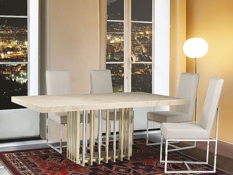 Cage Rectangular Marble Dining Table with Metal Tube Base by Stone International 3