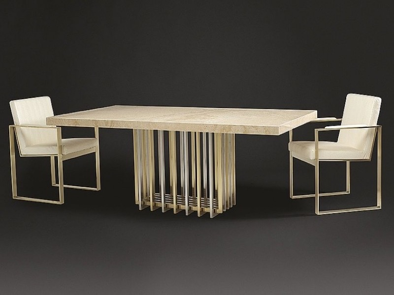 Cage Rectangular Marble Dining Table with Metal Tube Base by Stone International