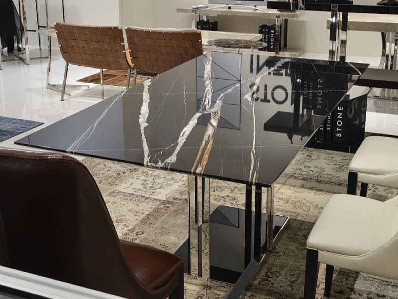 Elba Rectangular Marble Dining Table with Metal Base by Stone International 1