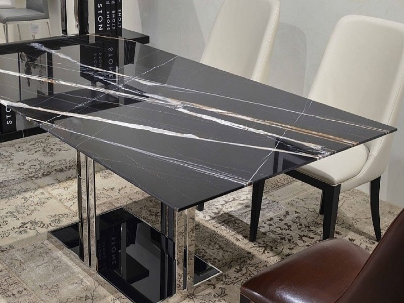 Elba Rectangular Marble Dining Table with Metal Base by Stone International 2