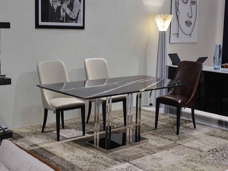 Elba Rectangular Marble Dining Table with Metal Base by Stone International 4