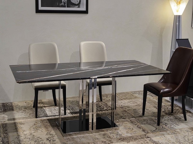 Elba Rectangular Marble Dining Table with Metal Base by Stone International