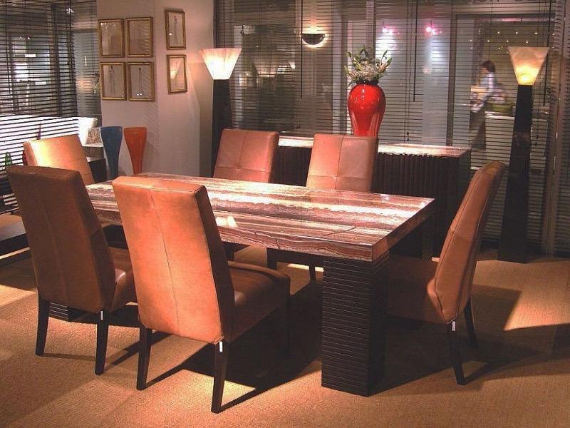Espresso Rectangular Large Marble Dining Table with Wenge Wood Base by Stone International 1