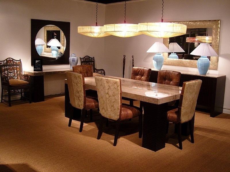 Espresso Rectangular Large Marble Dining Table with Wenge Wood Base by Stone International