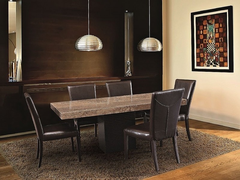 Espresso Rectangular Marble Dining Table with Wenge Wood Base by Stone International 2