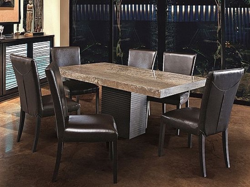 Espresso Rectangular Marble Dining Table with Wenge Wood Base by Stone International