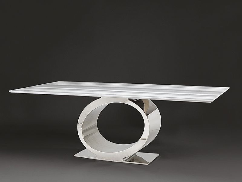 Eye Slim Top Rectangular Marble Dining Table with Metal Base by Stone International 1