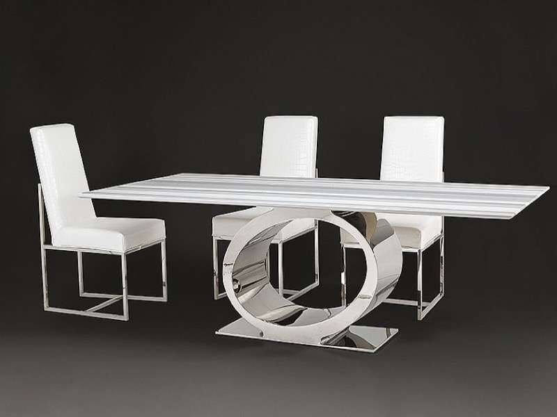 Eye Slim Top Rectangular Marble Dining Table with Metal Base by Stone International