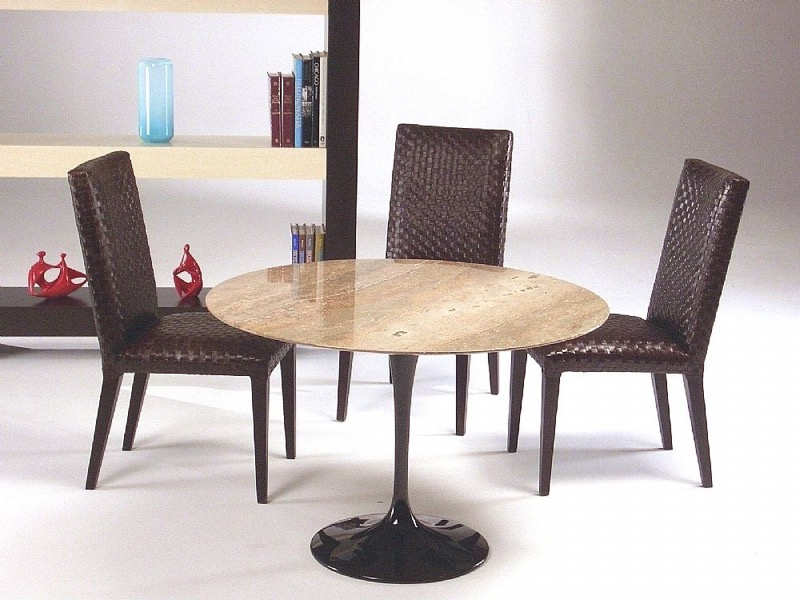Flute Round Marble Dining Table with Metal Base by Stone International