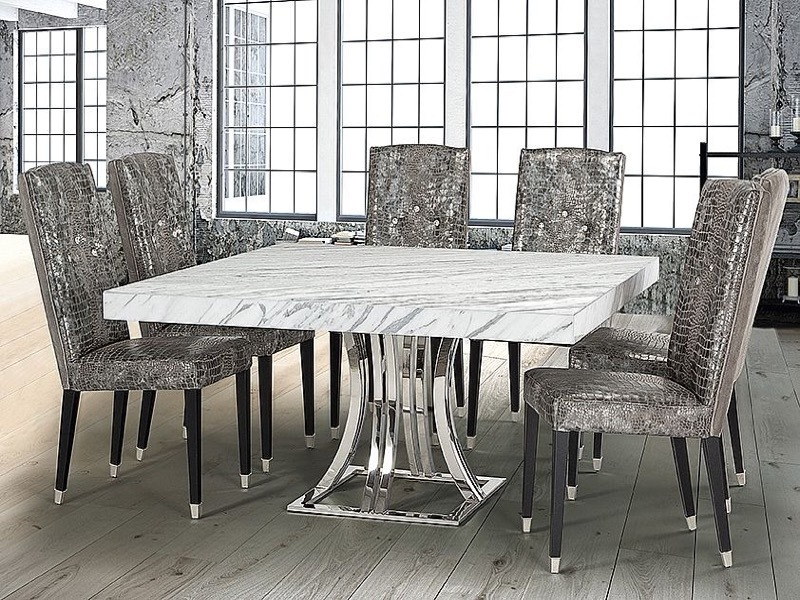 Stone International Aurora Square Marble Dining Table