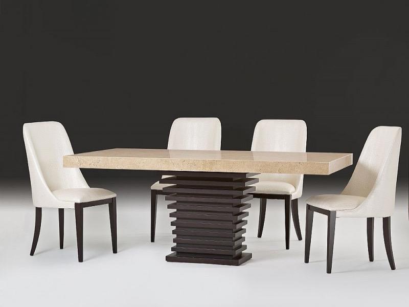 Ark Beveled Rectangular Marble Dining Table with Wenge Wood Base by Stone International 1