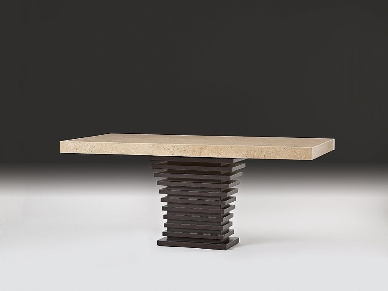 Ark Beveled Rectangular Marble Dining Table with Wenge Wood Base by Stone International