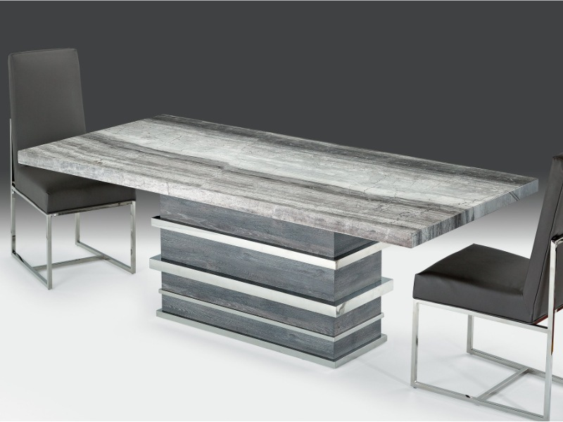 Saturn Rectangular Marble Dining Table with Marble & Steel Base by Stone International 2