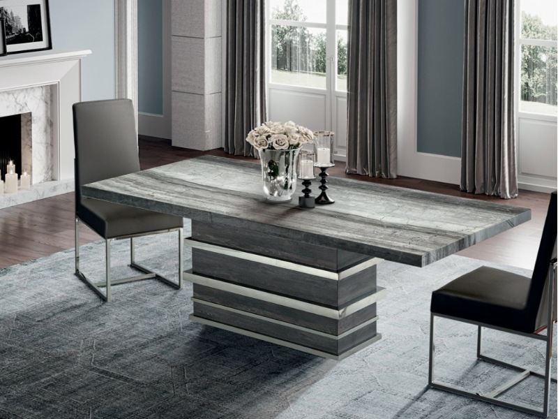 Saturn Rectangular Marble Dining Table with Marble & Steel Base by Stone International