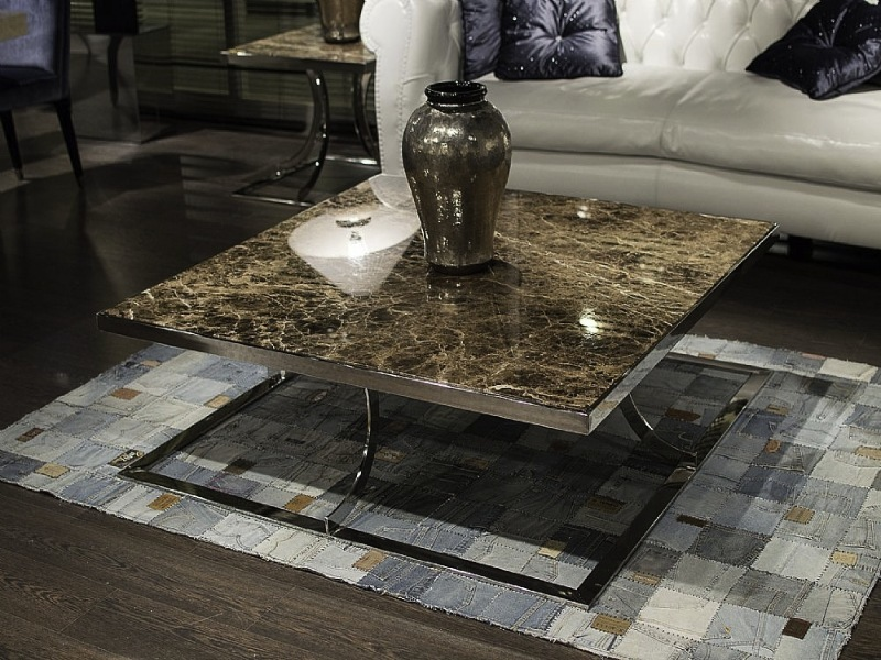 Aurora Square Marble Coffee Table with Steel Base by Stone International