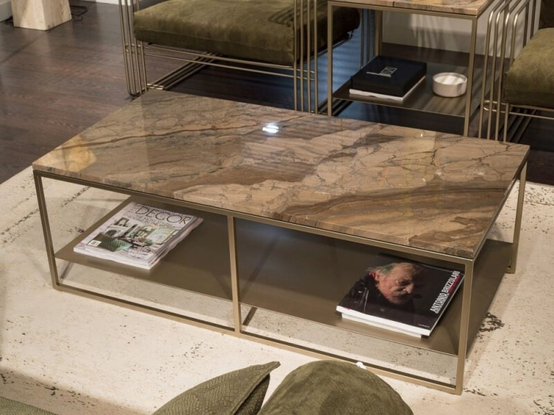 Billy Marble Rectangular Coffee Table with Metal Base by Stone International