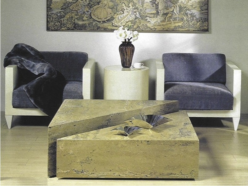 Box Marble High Low Coffee Table with Marble Base by Stone International