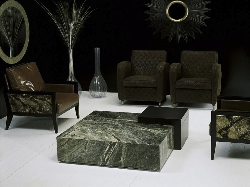 Box Marble Square Coffee Table with Wenge Wood by Stone International