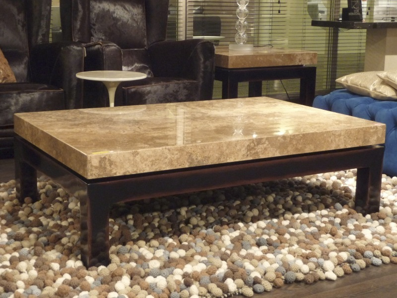 Cadi Rectangular Marble Coffee Table with Wood Base by Stone International