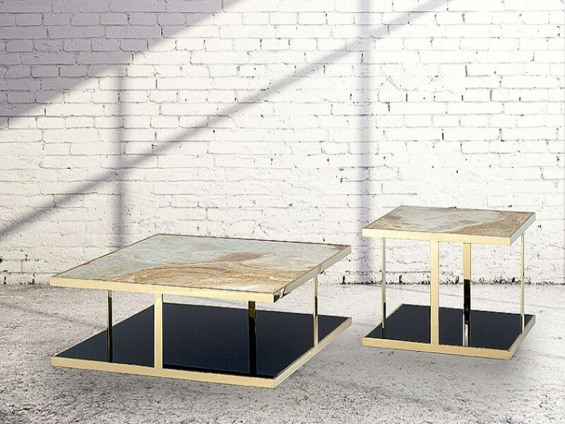 Elba Marble Square Coffee Table with Steel Base by Stone International 1