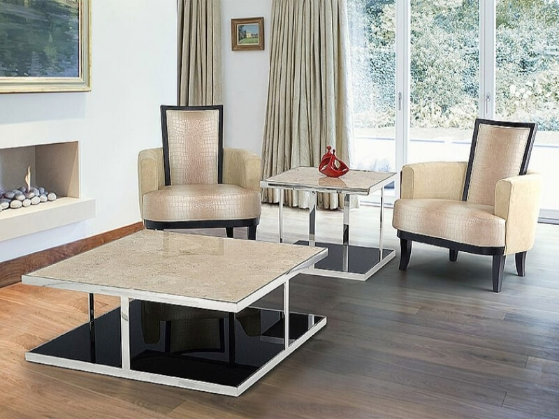 Elba Marble Square Coffee Table with Steel Base by Stone International